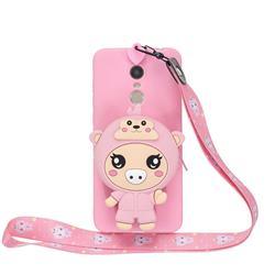 Pink Pig Neck Lanyard Zipper Wallet Silicone Case for Mi Xiaomi Redmi 5