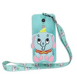 Blue Elephant Neck Lanyard Zipper Wallet Silicone Case for Mi Xiaomi Redmi 5