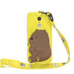 Yellow Bear Neck Lanyard Zipper Wallet Silicone Case for Mi Xiaomi Redmi 5