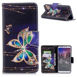 Golden Shining Butterfly Leather Wallet Case for Mi Xiaomi Redmi 5