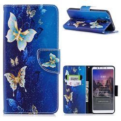 Golden Butterflies Leather Wallet Case for Mi Xiaomi Redmi 5
