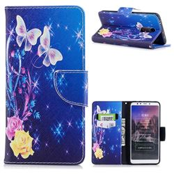 Yellow Flower Butterfly Leather Wallet Case for Mi Xiaomi Redmi 5