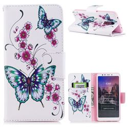 Peach Butterflies Leather Wallet Case for Mi Xiaomi Redmi 5