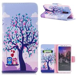 Tree and Owls Leather Wallet Case for Mi Xiaomi Redmi 5