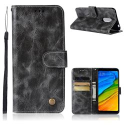 Luxury Retro Leather Wallet Case for Mi Xiaomi Redmi 5 - Gray