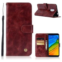 Luxury Retro Leather Wallet Case for Mi Xiaomi Redmi 5 - Wine Red