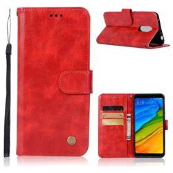 Luxury Retro Leather Wallet Case for Mi Xiaomi Redmi 5 - Red