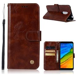Luxury Retro Leather Wallet Case for Mi Xiaomi Redmi 5 - Brown
