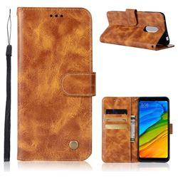Luxury Retro Leather Wallet Case for Mi Xiaomi Redmi 5 - Golden