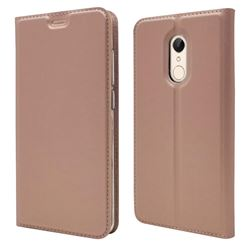 Ultra Slim Card Magnetic Automatic Suction Leather Wallet Case for Mi Xiaomi Redmi 5 - Rose Gold