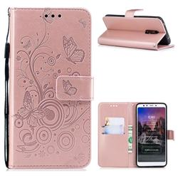 Intricate Embossing Butterfly Circle Leather Wallet Case for Mi Xiaomi Redmi 5 - Rose Gold