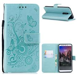 Intricate Embossing Butterfly Circle Leather Wallet Case for Mi Xiaomi Redmi 5 - Cyan