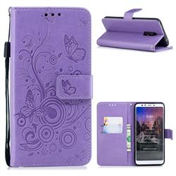 Intricate Embossing Butterfly Circle Leather Wallet Case for Mi Xiaomi Redmi 5 - Purple