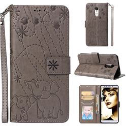 Embossing Fireworks Elephant Leather Wallet Case for Mi Xiaomi Redmi 5 - Gray