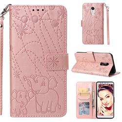 Embossing Fireworks Elephant Leather Wallet Case for Mi Xiaomi Redmi 5 - Rose Gold