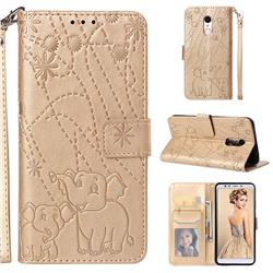 Embossing Fireworks Elephant Leather Wallet Case for Mi Xiaomi Redmi 5 - Golden