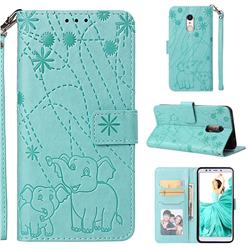 Embossing Fireworks Elephant Leather Wallet Case for Mi Xiaomi Redmi 5 - Green