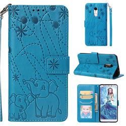 Embossing Fireworks Elephant Leather Wallet Case for Mi Xiaomi Redmi 5 - Blue