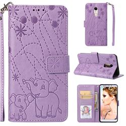 Embossing Fireworks Elephant Leather Wallet Case for Mi Xiaomi Redmi 5 - Purple