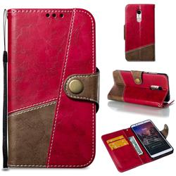 Retro Magnetic Stitching Wallet Flip Cover for Mi Xiaomi Redmi 5 - Rose Red