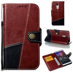 Retro Magnetic Stitching Wallet Flip Cover for Mi Xiaomi Redmi 5 - Dark Red