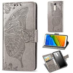 Embossing Mandala Flower Butterfly Leather Wallet Case for Mi Xiaomi Redmi 5 - Gray