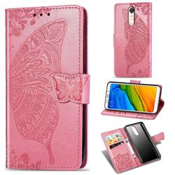 Embossing Mandala Flower Butterfly Leather Wallet Case for Mi Xiaomi Redmi 5 - Pink