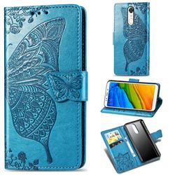 Embossing Mandala Flower Butterfly Leather Wallet Case for Mi Xiaomi Redmi 5 - Blue