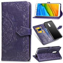Embossing Imprint Mandala Flower Leather Wallet Case for Mi Xiaomi Redmi 5 - Purple