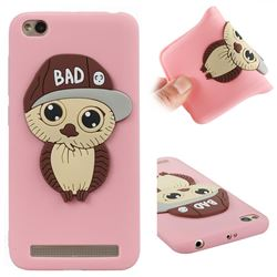 Bad Boy Owl Soft 3D Silicone Case for Xiaomi Redmi 5A - Pink