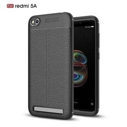 Luxury Auto Focus Litchi Texture Silicone TPU Back Cover for Xiaomi Redmi 5A - Black