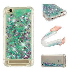 Dynamic Liquid Glitter Sand Quicksand TPU Case for Xiaomi Redmi 5A - Green Love Heart