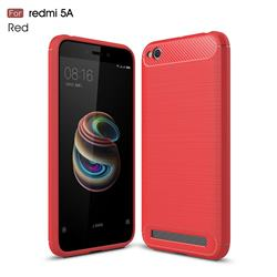 Luxury Carbon Fiber Brushed Wire Drawing Silicone TPU Back Cover for Xiaomi Redmi 5A - Red