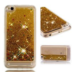 Dynamic Liquid Glitter Quicksand Sequins TPU Phone Case for Xiaomi Redmi 5A - Golden
