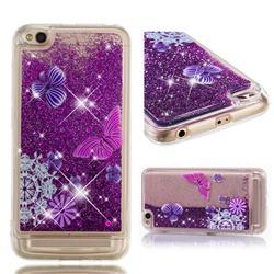 Purple Flower Butterfly Dynamic Liquid Glitter Quicksand Soft TPU Case for Xiaomi Redmi 5A