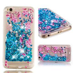 Blue Plum Blossom Dynamic Liquid Glitter Quicksand Soft TPU Case for Xiaomi Redmi 5A