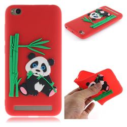 Panda Eating Bamboo Soft 3D Silicone Case for Xiaomi Redmi 5A - Red