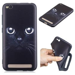 Bearded Feline 3D Embossed Relief Black TPU Cell Phone Back Cover for Xiaomi Redmi 5A