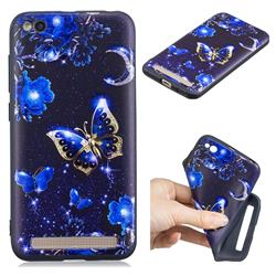 Phnom Penh Butterfly 3D Embossed Relief Black TPU Cell Phone Back Cover for Xiaomi Redmi 5A