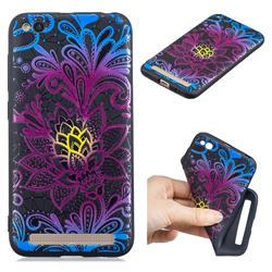 Colorful Lace 3D Embossed Relief Black TPU Cell Phone Back Cover for Xiaomi Redmi 5A