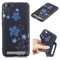 Little Blue Flowers 3D Embossed Relief Black TPU Cell Phone Back Cover for Xiaomi Redmi 5A