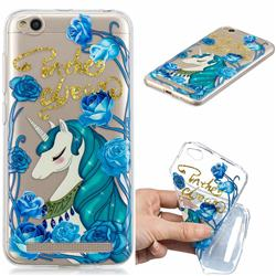 Blue Flower Unicorn Clear Varnish Soft Phone Back Cover for Xiaomi Redmi 5A