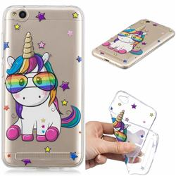 Glasses Unicorn Clear Varnish Soft Phone Back Cover for Xiaomi Redmi 5A