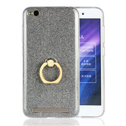 Luxury Soft TPU Glitter Back Ring Cover with 360 Rotate Finger Holder Buckle for Xiaomi Redmi 5A - Black