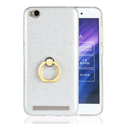 Luxury Soft TPU Glitter Back Ring Cover with 360 Rotate Finger Holder Buckle for Xiaomi Redmi 5A - White