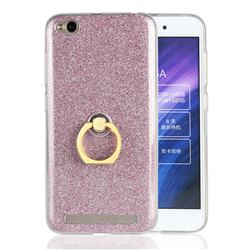 Luxury Soft TPU Glitter Back Ring Cover with 360 Rotate Finger Holder Buckle for Xiaomi Redmi 5A - Pink