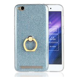 Luxury Soft TPU Glitter Back Ring Cover with 360 Rotate Finger Holder Buckle for Xiaomi Redmi 5A - Blue