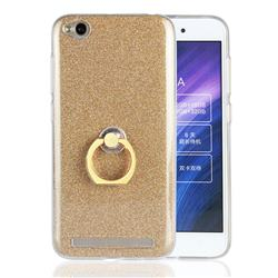 Luxury Soft TPU Glitter Back Ring Cover with 360 Rotate Finger Holder Buckle for Xiaomi Redmi 5A - Golden