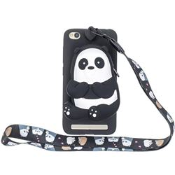Cute Panda Neck Lanyard Zipper Wallet Silicone Case for Xiaomi Redmi 5A
