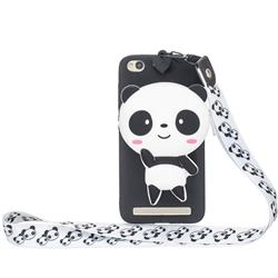 White Panda Neck Lanyard Zipper Wallet Silicone Case for Xiaomi Redmi 5A